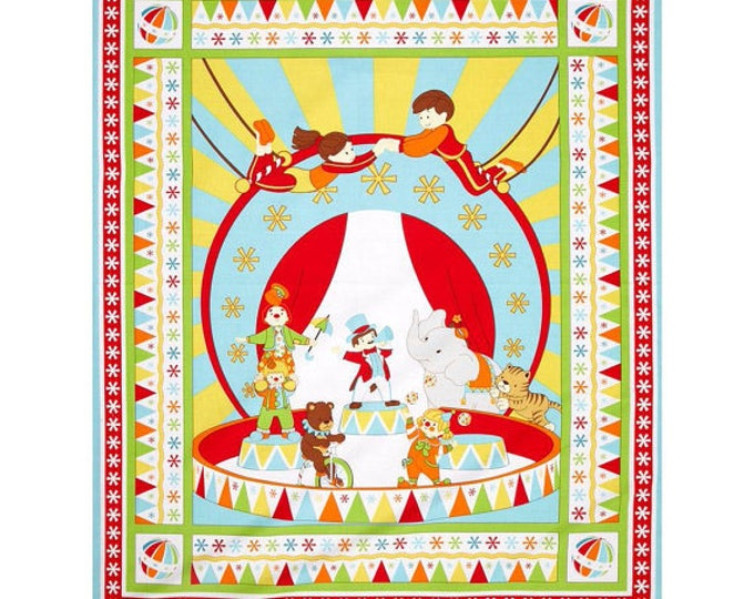 Children's Fabric Panel, Under The Big Top Cotton Panel by Benartex 35 x 44 inches