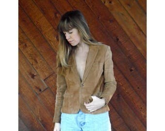 15% Memorial Day Wknd ... Brown Suede Fitted Blazer Jacket - Vintage 90s- XS/S