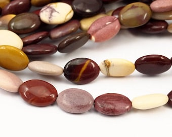 12 Strands Moukaite Jasper 14 Mm Oval Gemstone Beads