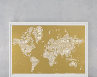 World Type Map Screen Print, Limited Edition: World Type Map, World Word Map, World Wall Art, World Wall Poster, World Map, Gold World Map