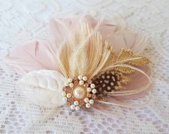 Gold, Ivory & Blush Pink Feather Hair Clip for Your Wedding