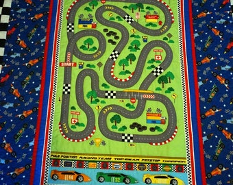 Race Track Quilt & Pillow Set Toddler for Boy, Baby, Toddler, Kids, Playmat Race Track AND Cars The Movie Backing
