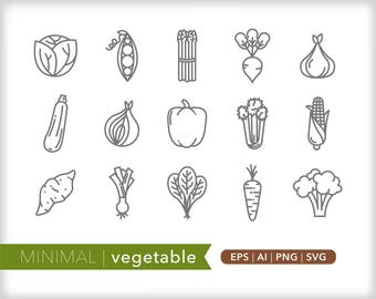 Minimal vegetable line icons | EPS AI PNG | Geometric Food Clipart Design Elements Digital Download