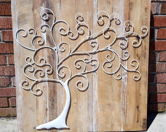 Tree of life Farmhouse barn wood rustic wall art metal tree eco-friendly wedding reclaimed wood Outer Banks BeachHouseDreamsHome
