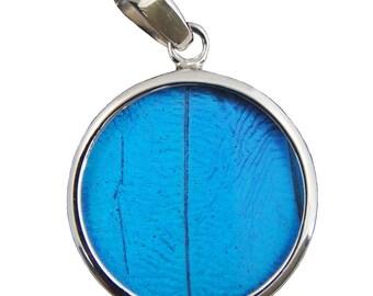 Blue Morpho Butterfly Round Pendant