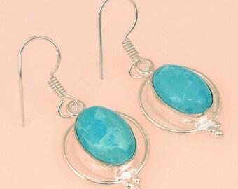 Larimar Oval Goddess Earrings