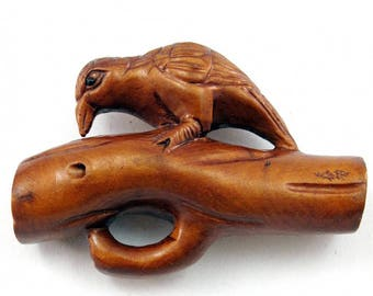 Bird on a Branch Japanese Hand-Carved Boxwood Netsuke Bead