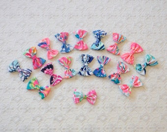 Preppy Little Lilly Pulitzer Fabric Hair Bow Many Prints