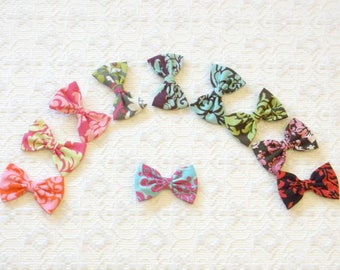 Preppy Boho Cotton Damask Small Hair Bow in 10 Colors