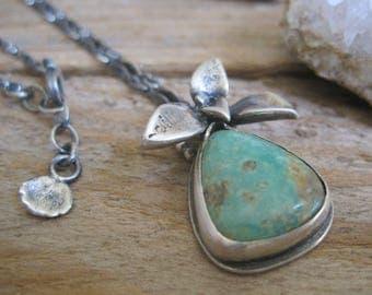 Turquoise Succulent Necklace, Botanical Necklace, Turquoise Pendant, Turquoise Necklace, Gift for Her