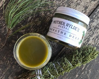 Breathe Deep Evergreen Chest Rub with Camphor + Menthol herbal cough cold Mother Hylde's Herbal 2oz