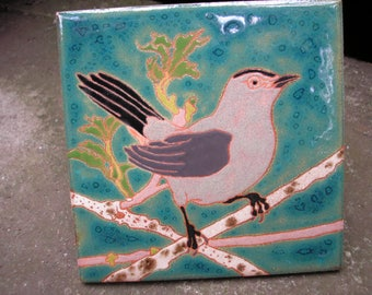 AVAILABLE NOW Cat Bird tile, Arts and Crafts, , Birders, Kitchen,Bath, Fireplace Surround, or Framed