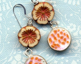 Broken China Earrings, Floral Earrings, Beige and Strawberry Red Pottery Sterling Silver Ear Wire Earrings Ming Period style, Czech Glass