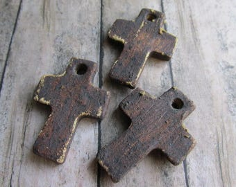 Stoneware Cross, rugged cross, Simple Cross, Handmade cross, classicbead, cross, cross pendant
