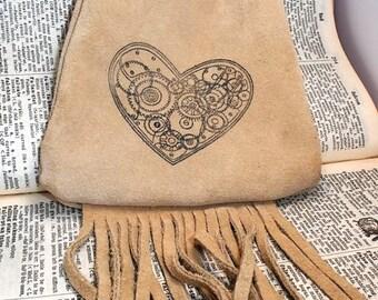 clockwork heart steampunk style print suede beige leather fringe pouch