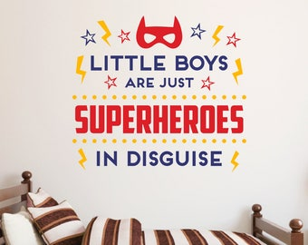 Little boys are just superheroes wall decal, Superhero quote decal, Boys room decor, Playroom wall decals, Wall sayings, Wall art quote B448