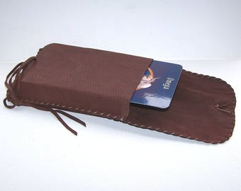 Leather Tarot Bag / Medicine Bag...LARGE Vertical Flap....BROWN