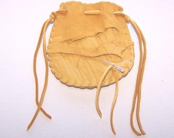 Beautiful Deerskin Medicine Bag ..GOLD