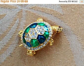 On sale Pretty Vintage Green,Blue Enamel, Rhinestone Turtle Brooch, Pin (AM12)