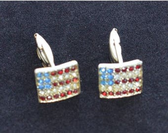 ON SALE Lovely Vintage Red, Clear, Blue American Flag Cuff Links, USA, Patriotic, Holiday, Military (D2)