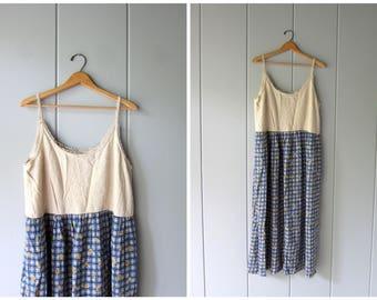 Vintage 90s Long Floral Dress Summer Frock Dress Rayon Linen Boho Sundress Sunflower Flower Print Babydoll Maxi Slip Dress Womens Medium