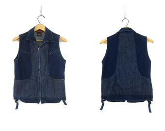 1980s Denim Vest Hipster Sleeveless Jean Jacket Pinstriped Blue Bon Jour Vest Casual Club Kid Zipper Jean Jacket Women's Size Small