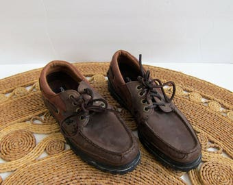 90s Deck Shoes Vintage Ralph Lauren Leather Boat Shoes Dark Brown leather Moccasins Preppy Lace Up Oxfords Loafers Lace Up Shoes Womens 7.5