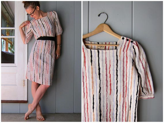 Vintage 70s Dress Colorful Rainbow Striped Dress Puffed Sleeves Midi Dress 1970s Vintage Cinched Sheath Dress Hipster Womens Small Medium