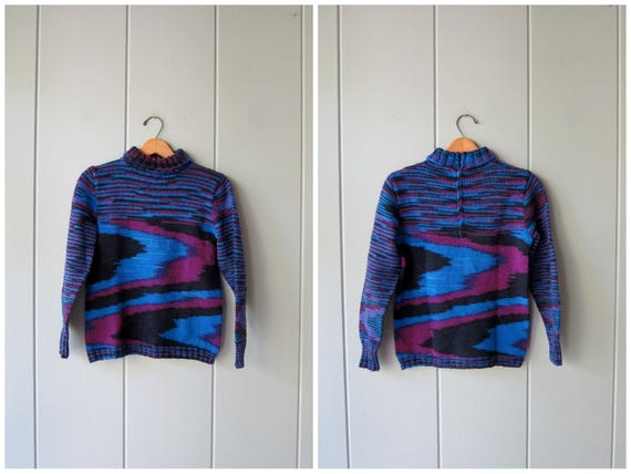 70s Colorful Purple Sweater Vintage Hippie Bohemian Pullover Knit Top Turtleneck Sweater Retro 60s Abstract Hippie Fall Sweater Womens Small