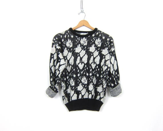 Retro Knit Sweater Vintage Black and White Sweater Knit Top Hipster Abstract Fall Pattern Shirt Sweater Womens Size Medium Large
