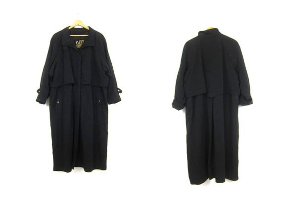 Long Black Trench Coat Women's vintage Button Up Slouchy Duster Jacket Preppy Fall Trench Dress Coat Women's Plus Size 20W