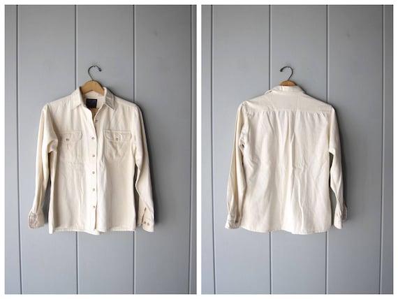 Minimal Raw Silk Blouse Natural White Button Up Shirt Vintage 90s Brushed Silk Pocket Shirt Long Sleeve Modern Top Womens Small