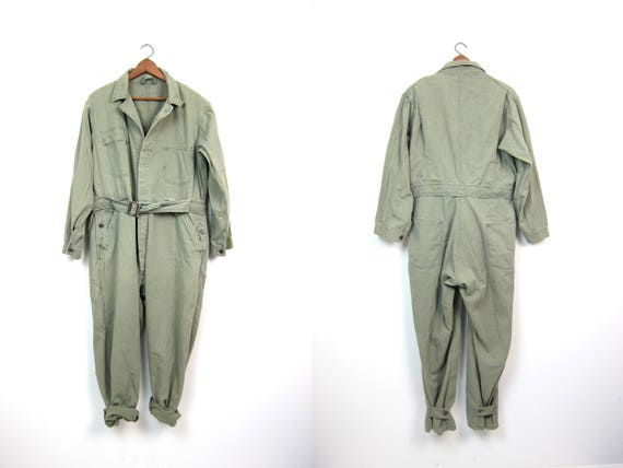 Vintage 70s Army Jumpsuit Sage Green Oversized Coveralls Belted Mechanic Suit Grunge One Piece Jumper Engineer Factory Hipster Mens Large