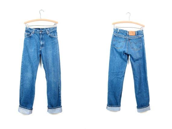 Vintage 80s LEVIS Jeans High Rise Denim Boyfriend Jeans Vintage Orange Tab Loose Fit Boot Leg Jeans Levis Pants Hipster Grunge Size 30 x 34