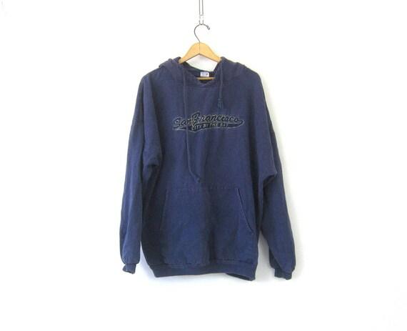 vintage San Francisco Hoodie sweatshirt 90s California Hooded Top ATHLETICS Tourist Souvenir Shirt Long Blue Drawstring Shirt COED XL