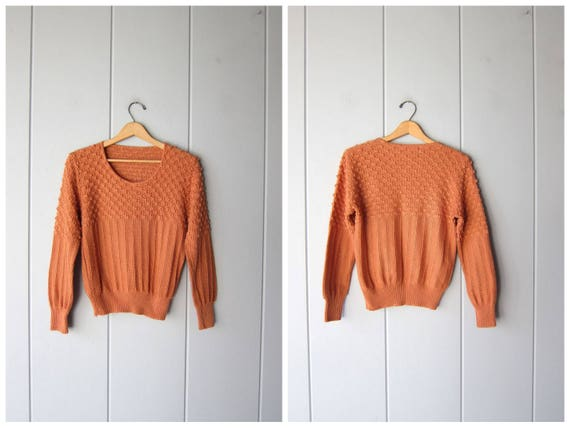 70s Terra Cotta Sweater Popcorn Knit Nubby Fall Sweater Peppy Minimal Thin Knit Pullover Vintage Boho Prairie Knit Boho Top Womens Small