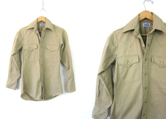 Vintage Khaki Pearl Snap Shirt Big Smith Shirt Rugged Western Pearl Snap Button Up Cowboy Shirt Small Fit Cotton Country Shirt XS Small