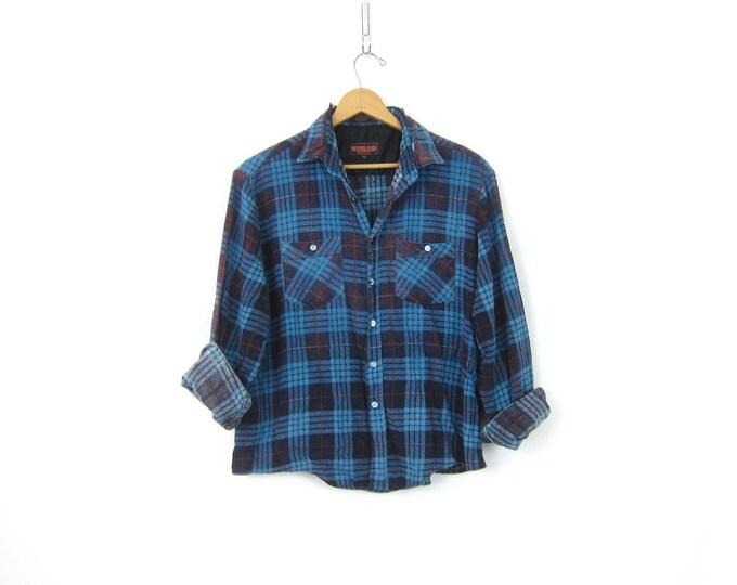 Blue Plaid Flannel Shirt 80s Destroyed Grunge Shirt Button Up Cotton THIN Distressed Rugged Tomboy Boyfriend Work Shirt Vintage XL Large