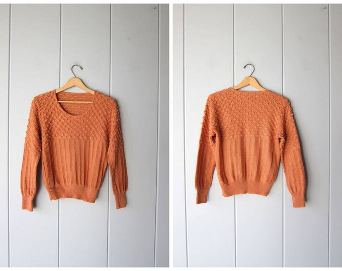 Nubby Knit Sweater Earthy Orange Popcorn Sweater Peppy Minimal Thin Knit Pullover Vintage Spring Sweater Boho Top Womens Small