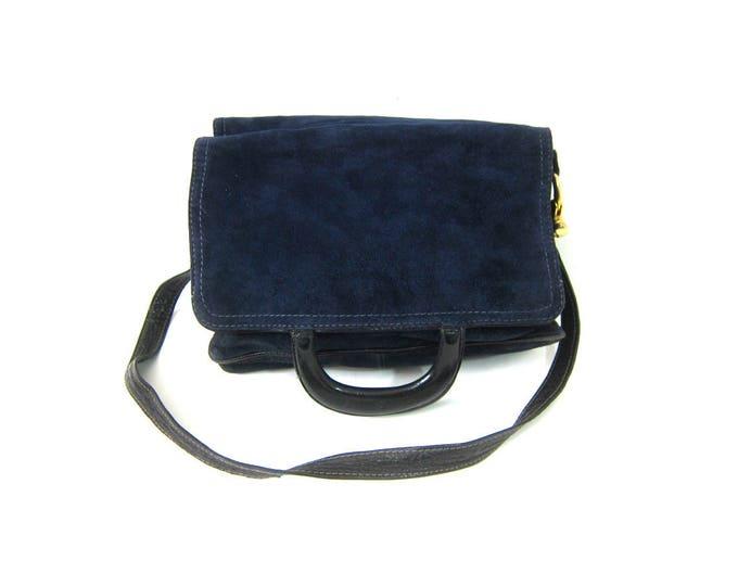 Navy Blue Suede Leather Purse Shoulder Strap Bucket Bag Purse Retro 1960s Vintage Handbag Boho Chic Dark Blue Purse