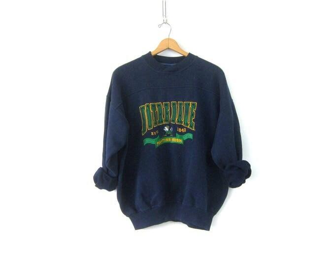 vintage Notre Dame College sweatshirt Navy Blue cotton blend sweatshirt Fighting Irish Sports sweater Unisex Size XL