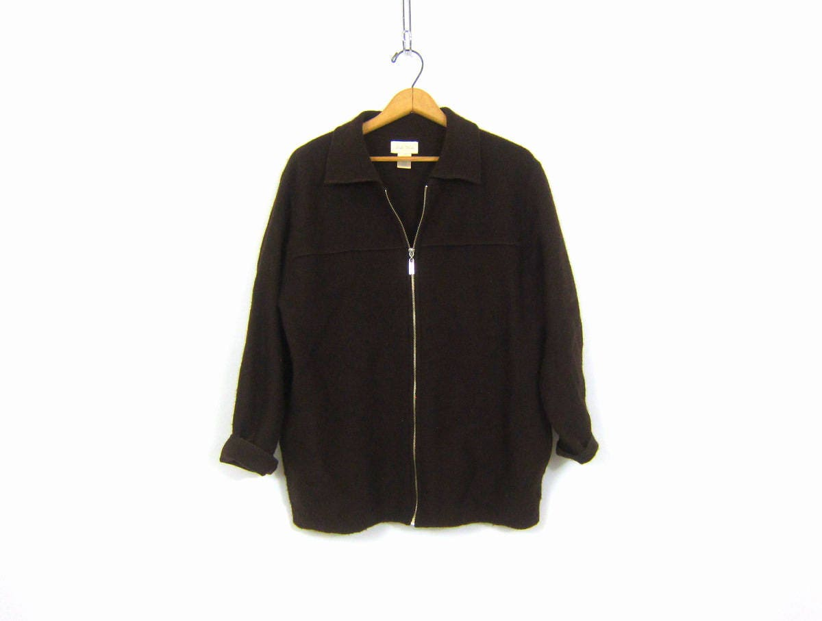 Oversized Earthy Dark Brown Wool Sweater Zipper Up Cardigan