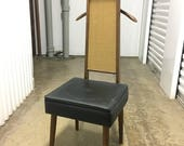 RESERVED FOR KERRY Vintage 1960s Vinyl and Wood Valet Chair with Seat Storage
