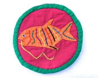 Vintage Mola Fish Patch~ Embroidery, Primitive Textile Folk Art~ Hand Stitched Colorful Aquatic Folk art Patch~ naturalist badge