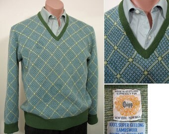 1970s Vintage Green, Blue and Yellow Wool Pullover Sweater by Chipp SZ L