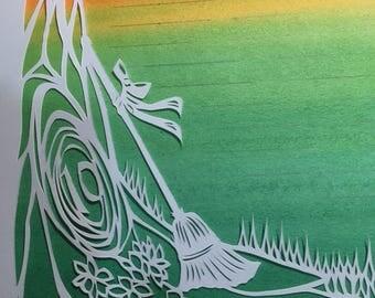 Jumping the Broom Love Magick Papercut Wedding Artwork