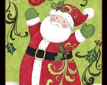 "36"" Fabric Panel Springs CP64460 Susan Winget Swirl Santa Christmas Wallhanging"
