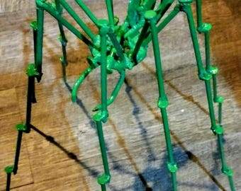 Daddy Long Legs Spider Metal Sculpture,  Green Halloween, Long legs spider made from nails.. Decoration, Great Gift, Scary !!! Green Spider