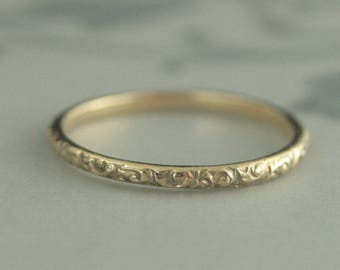 10K Gold Ring~Gold Wedding Ring~Gold Wedding Band~Vintage Style Band~Antique Style Ring~Women's Wedding Band~Women's Gold Band~Rococo