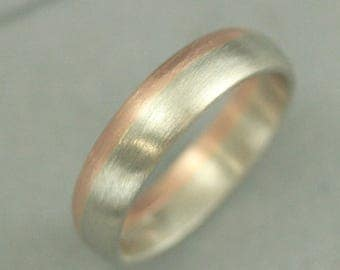 10K Two Tone Band~4mm Bicolor Band~Men's Gold Band~Women's Gold Band~Two Tone Ring~Bimetal Ring~Rose Gold and White Gold~Modern Wedding Band